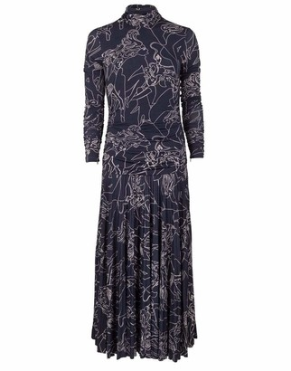 Victoria Victoria Beckham Midnight Long Sleeve Pleated Print Dress