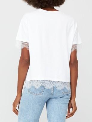 Very Lace Sleeve & Hem Insert T-shirt - White