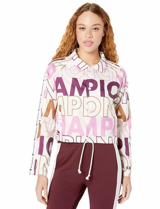 Champion Life Women's Cropped Coaches Jacket-Big Block Text AOP