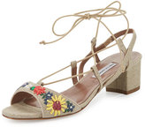 Tabitha Simmons Lori Meadow Embroidered Lace-Up Sandal, Linen/Multi