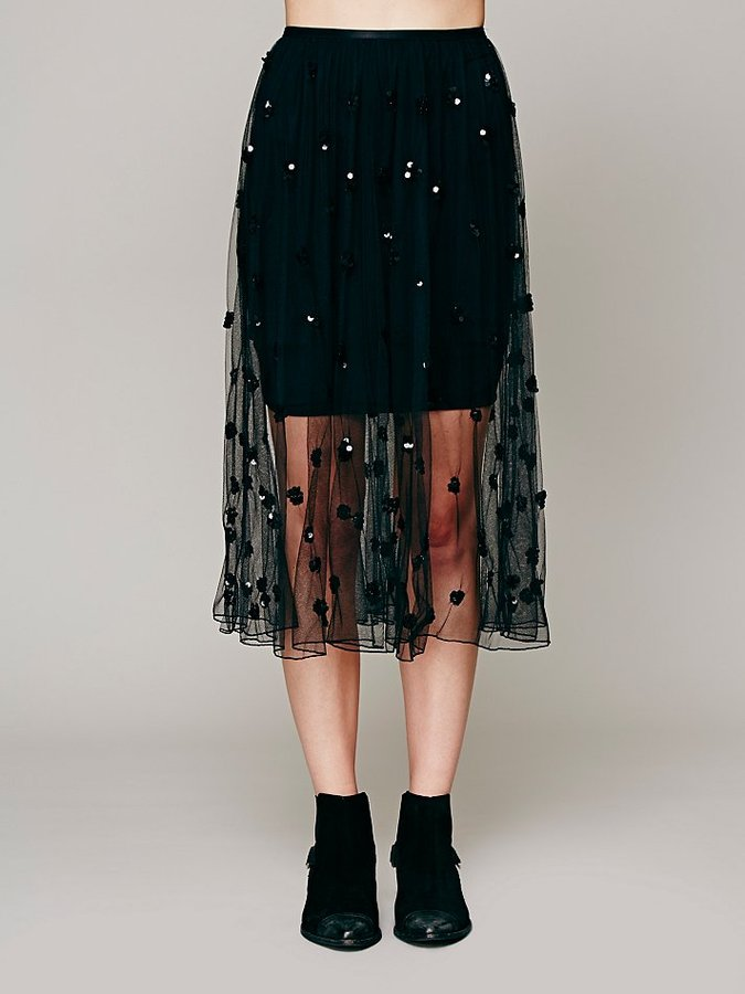 Free People Dotted In Sequins Mesh Slip