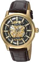 Invicta Men's 'Objet d'Art' Automatic Stainless Steel and Leather Casual Watch, Color:Brown (Model: 22611)