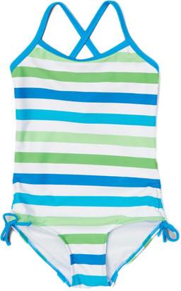 Kanu Surf Girls' One Piece Swimsuits Blue/Green - Blue & Green Sassy One-Piece - Toddler