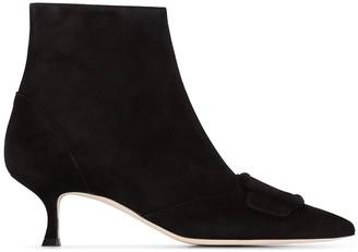 Manolo Blahnik Baylow tonal buckle ankle boots
