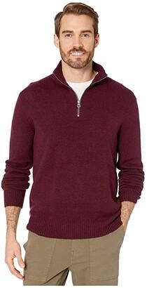 J.Crew Rugged Merino Wool Half-Zip Sweater (Heather Maroon) Men's Clothing