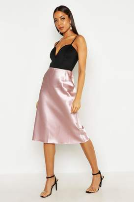 boohoo Satin Bias Midi Skirt