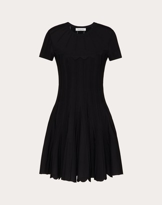 Valentino Stretch-viscose Knitted Dress Women Black Viscose 86%, Polyester 14% L