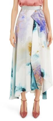 Roksanda Watercolor Print Silk Maxi Skirt