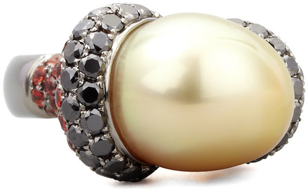 Eli Jewels Golden Pearl Ring with Black Diamond and Sapphire
