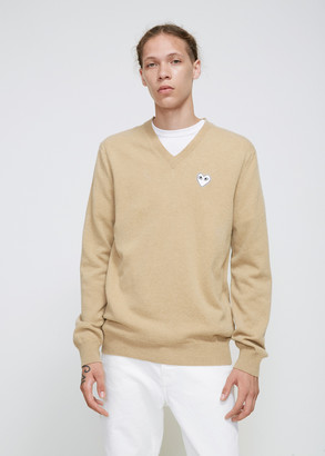 Comme des Garcons Men's White Heart V-neck Pullover in Camel Size Small 100% Wool