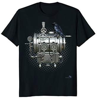 Steampunk T-shirt -Crow of Mechanical Machines