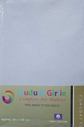 Dudu N Girlie Cotton Jersey Cot Bed Fitted Sheets, 2-Piece, White