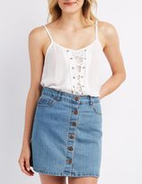 Charlotte Russe Lace-Up Inset Tank Top