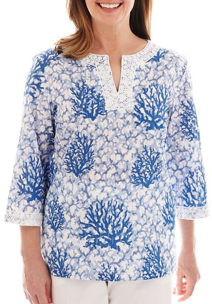 Alfred Dunner Shore Thing Coral Reef Print Tunic Top
