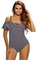 SheShy Women Floral Printing Frill Off-shoulder One Piece Bathing Suits (L, )