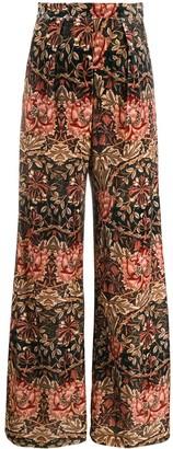 L'Autre Chose Floral-Print Wide-Leg Trousers