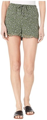 BB Dakota Leopard Printed Chiffon Shorts with Pockets (Sage) Women's Shorts