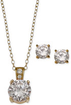 Giani Bernini 2-Pc. Set Cubic Zirconia Round Pendant Necklace and Stud Earring Set in 18k Gold-Plated Sterling Silver, Only at Macy's