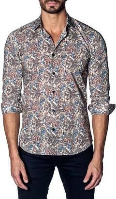 Jared Lang Trim-Fit Printed Cotton Sport Shirt