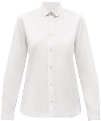 Saint Laurent Peter Pan-collar Striped Poplin Shirt - White
