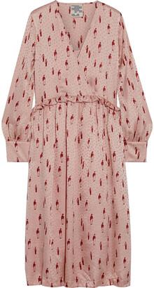 Baum und Pferdgarten Aedon Ruffle-trimmed Silk-satin Jacquard Midi Dress