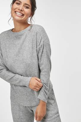 Next Womens Brushed Rib Crew Top - Grey