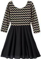 My Michelle Girls 7-16 3/4-Length Sleeve Chevron Back Bow Dress
