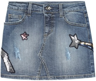 MSGM Kids Embellished denim miniskirt