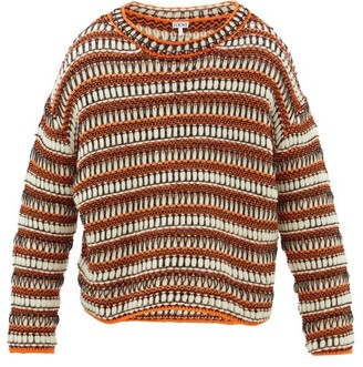 Loewe Striped Mesh-knit Wool-blend Sweater - Black Orange