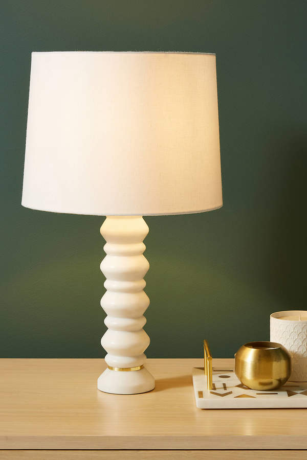 Silvia Marble Lamp Base By Anthropologie in White Size S