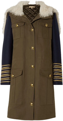 Michael Kors Collection Shearling-trimmed Felt-paneled Cotton-gabardine Hooded Coat