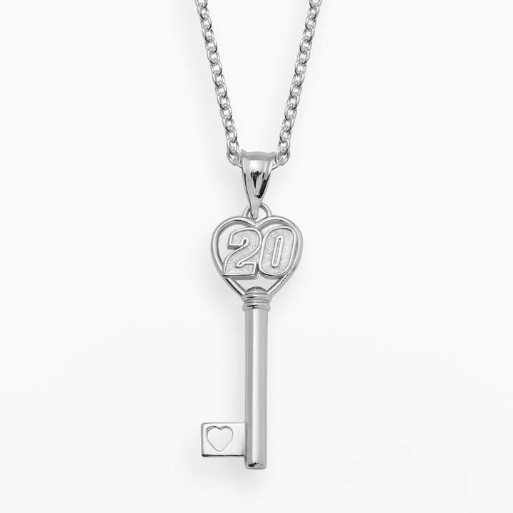 "Insignia Collection NASCAR Matt Kenseth Sterling Silver ""20"" Heart Key Pendant"