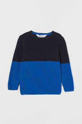 H&M Ribbed Cotton Sweater - Blue