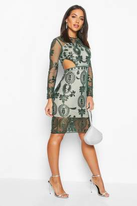 boohoo Premium Cut Out Detail Beaded Sequin Dress