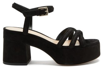 Gianvito Rossi Crossover Suede Platform Sandals - Black