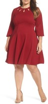 Gabby Skye Plus Size Women's Keyhole Neck Ottoman Fit & Flare Dress