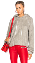 Unravel Cotton Cashmere Cropped Hoodie in Gray.