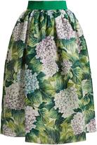 Dolce & Gabbana Hydrangea-print silk-organza skirt