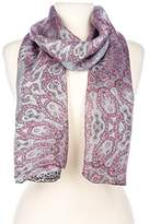 Noble Mount Women's Premium 100% Silk Scarf - Leopard/Paisley - Grey/Pink