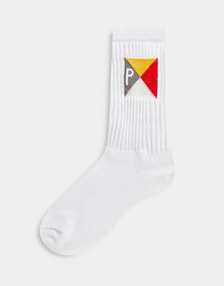 Parlez Penant socks with multi flag design in white
