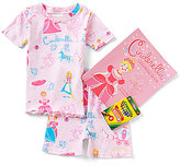 Books To Bed Little/Big Girls 2T-10 Cinderella Fitted Two-Piece Pajamas & Coloring Book Set