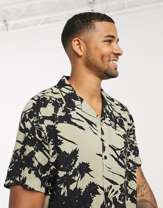 ASOS DESIGN revere collar regular fit shirt in ecru abstract floral print