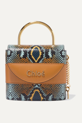 Chloé Aby Lock Small Snake-effect Leather Shoulder Bag - Blue