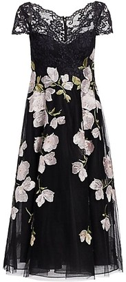 Teri Jon by Rickie Freeman Floral Lace Tulle Dress