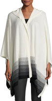 Three Dots Ombre Hooded Cashmere Poncho, Multi