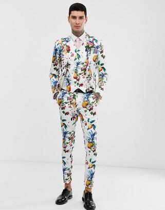 Asos Design DESIGN wedding super skinny suit pants with all over fruit floral print-White