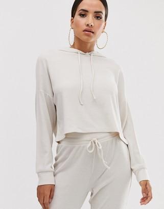 Asos Design DESIGN lounge ribbed soft hoodie-Beige