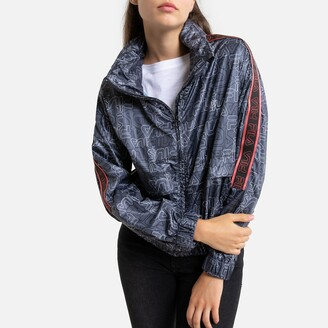 Fila Agnes Zip-Up High-Neck Jacket with Logo Print
