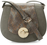 Neiman Marcus Snake-Embossed Faux-Leather Saddle Bag, Gray