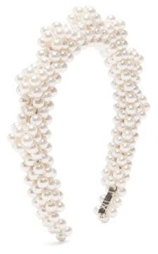 Shrimps Bronco Zigzag Faux-pearl Headband - Pearl